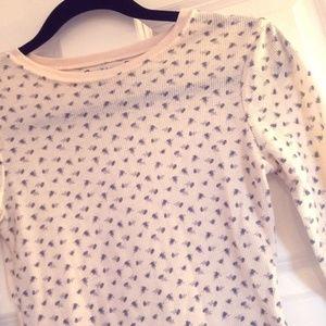 Flower Pattern Billabong Long Sleeve Waffle Shirt